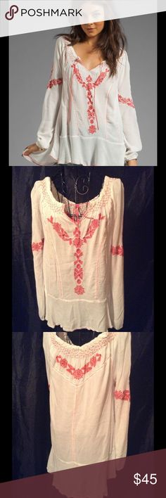 NWOT Free People Rolling Stone Peasant Top Gorgeous crinkly gauze with a coral embroidery drop wist win tie front size medium Free People Tops Blouses