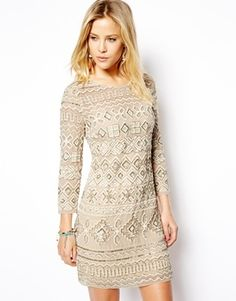 Needle & Thread Embellished Threadwork Dress - Cream