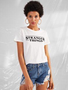 Letter Print T-shirt -SheIn(Sheinside)