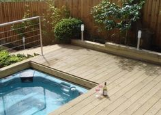 A hot tub deck 22 Weird And Wonderful Features You'll Wish You Had In Your Garden Back Gardens, Outdoor Gardens, Rooftop Gardens, Small Bathroom Paint Colors, Hot Tub Deck, Deck Pictures, Outdoor Living, Outdoor Decor, Outdoor Life