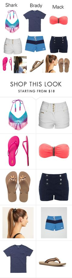 """wet side story"" by mikaylalynch ❤ liked on Polyvore featuring The Bikini Lab, Jane Norman, Gap, Charlotte Russe, Havaianas, Lipsy, Mimco, Saturdays, Bonobos and Margaritaville"