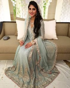 """Sara Haji looking pretty and elegant in an icey blue heavy Zardozi angharka at her milad Asian Wedding Dress, Pakistani Wedding Outfits, Pakistani Dresses, Wedding Lehnga, Pakistani Couture, Asian Bridal, Dulhan Dress, Nikkah Dress, Modest Dresses"