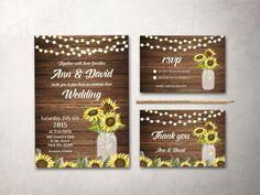 Rustic Wedding Invitation Printable Wedding by tranquillina