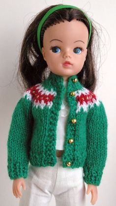 Green tan and gold Christmas dolls cardigan Sindy Susi Tammy Barbie DOLLS lot 55 Gold Christmas, Christmas Ornaments, Sindy Doll, Doll Clothes, Knitwear, Crafting, Disney Princess, Retro, Knitting