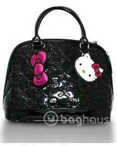 Hello Kitty Black Patent Embossed Regular Size « Clothing Impulse