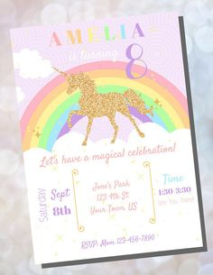 Unicorn Birthday Invitations, Pink Invitations, Printable Birthday Invitations, 5th Birthday, Rainbow Birthday, Handmade Items, Handmade Gifts, Marketing And Advertising, Paper Goods