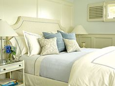 White with light blue bedroom