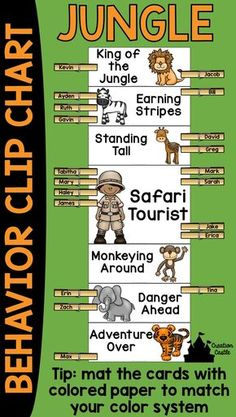 """This jungle theme behavior clip chart will look wonderful in your classroom! Encourage your students to have """"King of the Jungle"""" behavior and climb to the top of the chart! Behavior clip charts are a great tool in the classroom, allowing students and teachers to keep track of students misbehavior or outstanding behavior."""