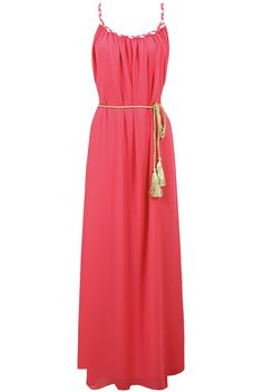 Coral Pleated Rope Belt Detail Maxi Dress via Pop Apparel                  . Click on the image to see more!