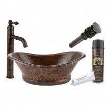 Premier Copper Bathroom Vessel Hammered Copper Sink Package