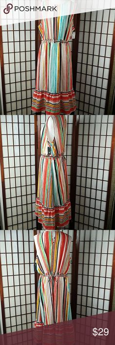 "NWT MOSSIMO STRIPED MAXI DRESS New with tags MISSION SIZE XL Maxi dress style  Blouson Tie Waist  Sleeveless  Striped pattern  Multicolored  Keyhole back neck stretchable waist  Made of polyester    Measurement Approximate Pit to pit 23"" Shoulder to hem 47"" Waist 38-44"" Mossimo Supply Co Dresses Maxi"