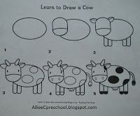 """Farm Animal Theme - cow  Guided Drawing """"how to draw a cow""""   to work on listening and following directions skills.    A, Bee, C, Preschool"""