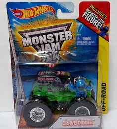 Hot Wheels Off Road Grave Digger Monster Jam Truck 2015 1:64 Scale w Figure #Mattel