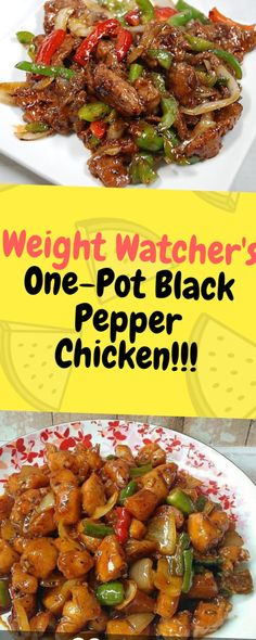 Healthy Weight Weight Watcher's One-Pot Black Pepper Chicken - One of food Weight Loss Meals, Weight Watcher Dinners, Weight Watchers Chicken, Weight Watcher Crockpot Recipes, Weight Watcher Breakfast, Diabetic Weight Watchers, Wieght Watchers, Recipes With Chicken And Peppers, Chicken Stuffed Peppers