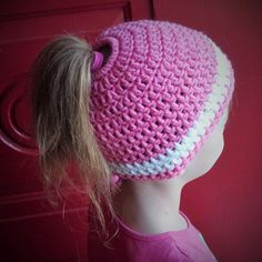 Ponytail Hat for All Ages All Sizes Available by stayhomecupcake