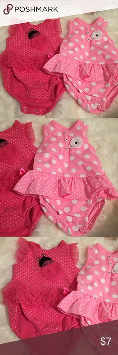 6 MONTHS bundle 🎁 Pretty pink bundle includes daisy romper and ladybug romper. Both are size 6 months. Carter's One Pieces