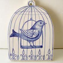 Handpainted Blue and White Pottery birdcage plaque. Blue And White China, Blue China, Love Blue, Ceramic Birds, Ceramic Art, Bird Cages, Little Birds, White Porcelain, Painted Porcelain