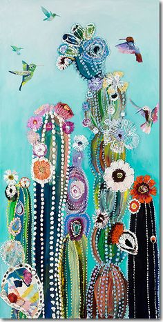 Eureka - Hummingbirds & Cacti Painting by Starla Michelle Halfmann