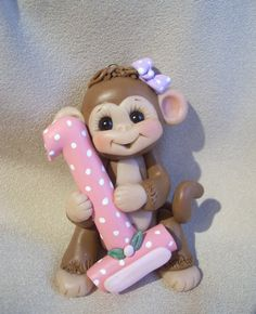 polymer clay monkey 1st Christmas ornament childrens by clayqts