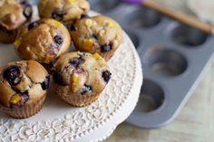 Blueberry Peach Protein Muffins #healthy #dessert #recipe #protein #muffin #berry