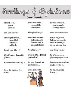 Feelings & opinions in Italian from http://nativeitalian.tumblr.com