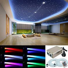 LED Sternenhimmel Glasfaser Lichtfaser 780 Lichtpunkte Leuchten 32W Dimmbar RGB