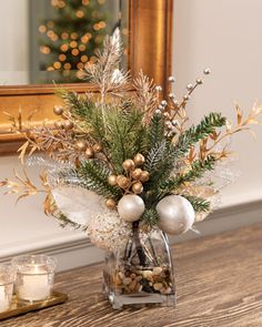 Pearl & Gold EleganceArtificial Holiday Accent Pearl & Gold Elegance Artificial Holiday Accent at Petals+ Rose Gold Christmas Decorations, Christmas Vases, Christmas Flower Arrangements, Holiday Centerpieces, Christmas Flowers, Xmas Decorations, Christmas Wreaths, Christmas Crafts, Christmas Home