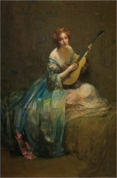 Edward August Bell (American 1862-1953), Playing her guitar