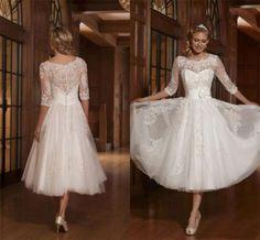 New white/ivory short dress Lace wedding dresses  Bridal Gown custom size