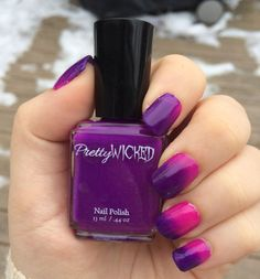 Pink and purple COLD ACTIVATED thermal nail polish. -Changes colors around 72 degrees Fahrenheit. -Pinkish at room temperature. Turns purple