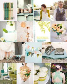 Dear Evie inspiration board 18 #wedding #inspiration #fern #aqua #peach