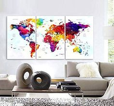 World Map Neon Colours Glowing Earth Wall Art Canvas Picture Print A1 A0
