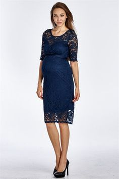 Navy Floral Lace Maternity Dress – Mommylicious Maternity