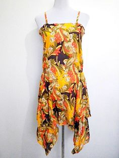 SALE! mustard yellow floral drop waist dress by VintageHomage, $13.00