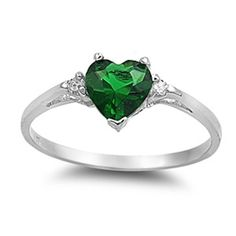 0.50 Carat Emerald Green Diamond Russian CZ Heart Shape Round 925 Sterling Silver Promise Ring Love Valentines Gift Wedding Engagement Ring