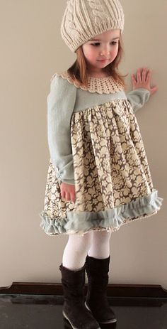 recycled cashmere sweater made into girl's dress... with vintage collar attached... sew easy!