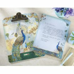 Peacock Clipboard and Notepad Set - Furniture, Home Decor and Home Furnishings, Home Accessories and Gifts | Expressions