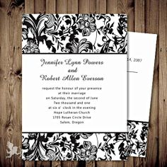 Winter Wedding Fashion: Damask Wedding Ideas and invitations Wedding Verses, Wedding Cards, Our Wedding, Dream Wedding, Wedding Things, Elegant Wedding, Wedding Stuff, Black And White Wedding Invitations, Beautiful Wedding Invitations