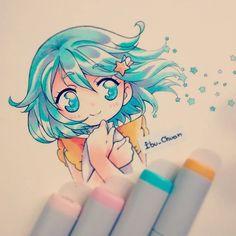 [By: Ibu_Chuan] -Love the color of the hair & eyes! Marker Kunst, Copic Marker Art, Copic Art, Copic Markers, Cartoon Kunst, Anime Kunst, Cartoon Art, Copic Drawings, Kawaii Drawings