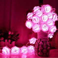 FISHBERG(TM) 2.2M 20 Led White Rose Fairy String Lights for Room Home Garden Christmas Party Decoration -- Read more @