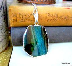 Blue Ombre Necklace Aqua Sea Green Geode Teal by Jewelsalem, $23.00