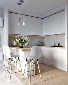 45 Inspiring Modern Scandinavian Kitchen Design Ideas Home Design Ideas Kitchen Room Design, Luxury Kitchen Design, Kitchen Layout, Home Decor Kitchen, Interior Design Kitchen, Home Kitchens, Kitchen Ideas, Kitchen Designs, Luxury Kitchens