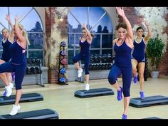 Cathe Friedrich's Party Rockin Step 1 workout video  Really fun. Complicated choreography,  but so much fun when you get it down.