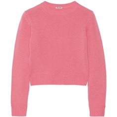 Miu Miu Cropped cashmere sweater ($350) ❤ liked on Polyvore featuring tops, sweaters, pink, wool cashmere sweater, loose tops, loose fit tops, cropped sweater and loose fit crop top