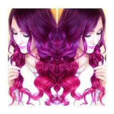 Violet to hot pink ombre hair
