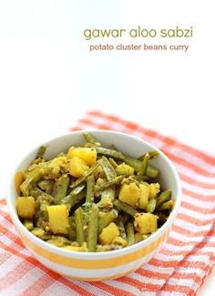 gawar aloo sabzi - delicious cluster bean potato curry cooked in carom seeds & desiccated coconut with indian spices. gawar aloo ki sabji or guvar batata shaak