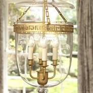 A striking pendant light with plain glass bowl and dish and stylised metal work detailing. Finished in old gold Glass Pendant Light, Lantern Pendant, Glass Pendants, Pendant Lighting, Chandelier, Gold Lanterns, Large Lanterns, Cut Glass, Metal Working