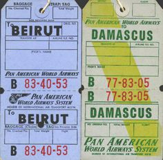 Baggage tags - 1950's.