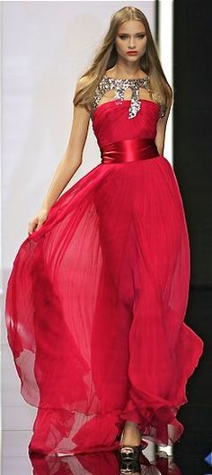 Fabulous Red Runway Gown... Love the Bling
