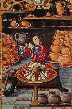 Un potier Chants royaux sur la conception, France (Paris), 1500Paris, BnF, département des Manuscrits, Français 1537, fol. 100 Contrairement aux artisans du textile, ceux de l'argile sont, pour la plupart, mal payés : les pots de terre, qui servaient à la cuisine, au jardinage, mais aussi en médecine et en apothicairerie, ne valaient presque rien. Si, dans les campagnes, les artisans sont pauvres et n'en font qu'un métier d'appoint, il existait en ville des revendeurs en gros qui…
